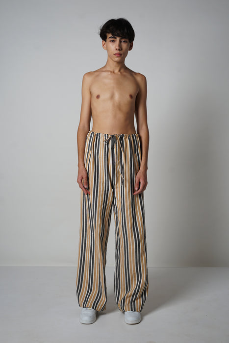 CAMEL + BLACK WIDE LEG DRAWSTRING PANT