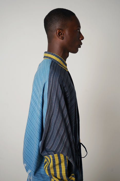 INDIGO BLUES + CANARY OVERSIZED SHIRT WITH DRAWSTRING