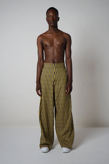 INDIGO + CANARY GINGHAM STRIPE PLAIN FRONT PALAZZO PANT (HIGH-WASITED)