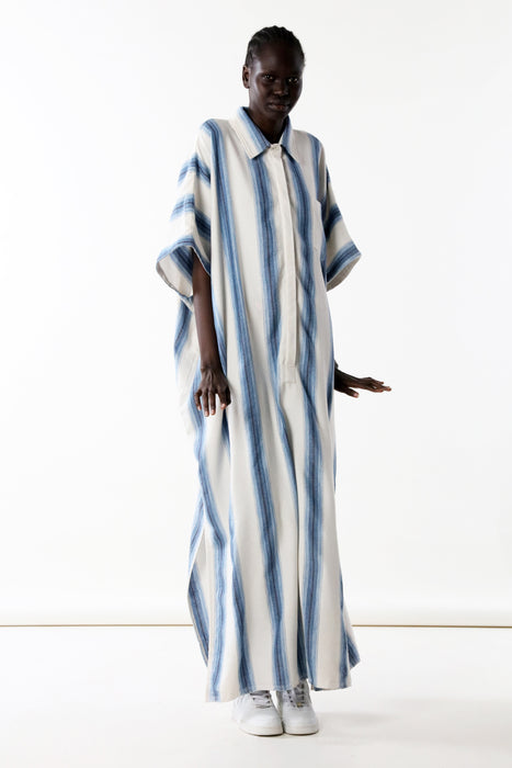 CAFTAN WITH SMALL POCKET : CHAMBRAY DEGRADE