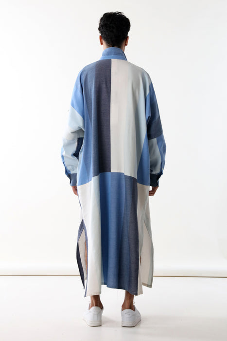 TUNIC WITH LONG SLEEVE : PANELED BLUE DEGRADE