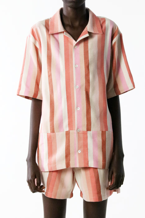 CAMP SHIRT : PINK VARIED STRIPE