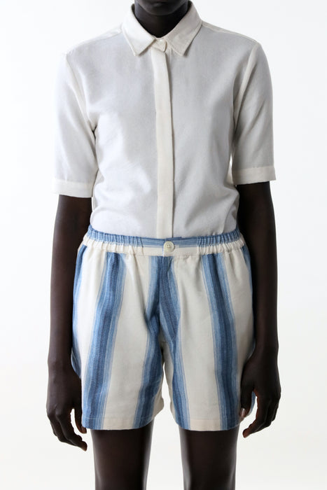 CROPPED SHORT : CHAMBRAY DEGRADING STRIPE