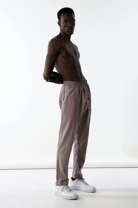 ELASTIC DROP CROTCH PANT : VARIED MICRO STRIPE 2