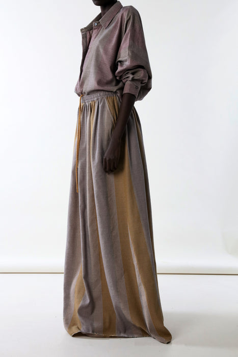 LONG SKIRT : VARIED MICRO STRIPE