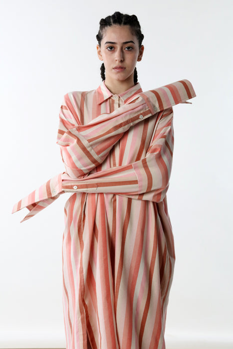 TUNIC WITH FRENCH CUFF : VARIED STRIPE