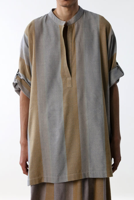 SHORT SLEEVE TUNIC WITH NERO COLLAR : VARIED MICRO STRIPE