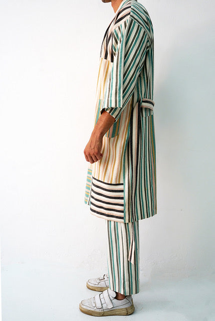 STRIPED COTTON BLEND ROBE