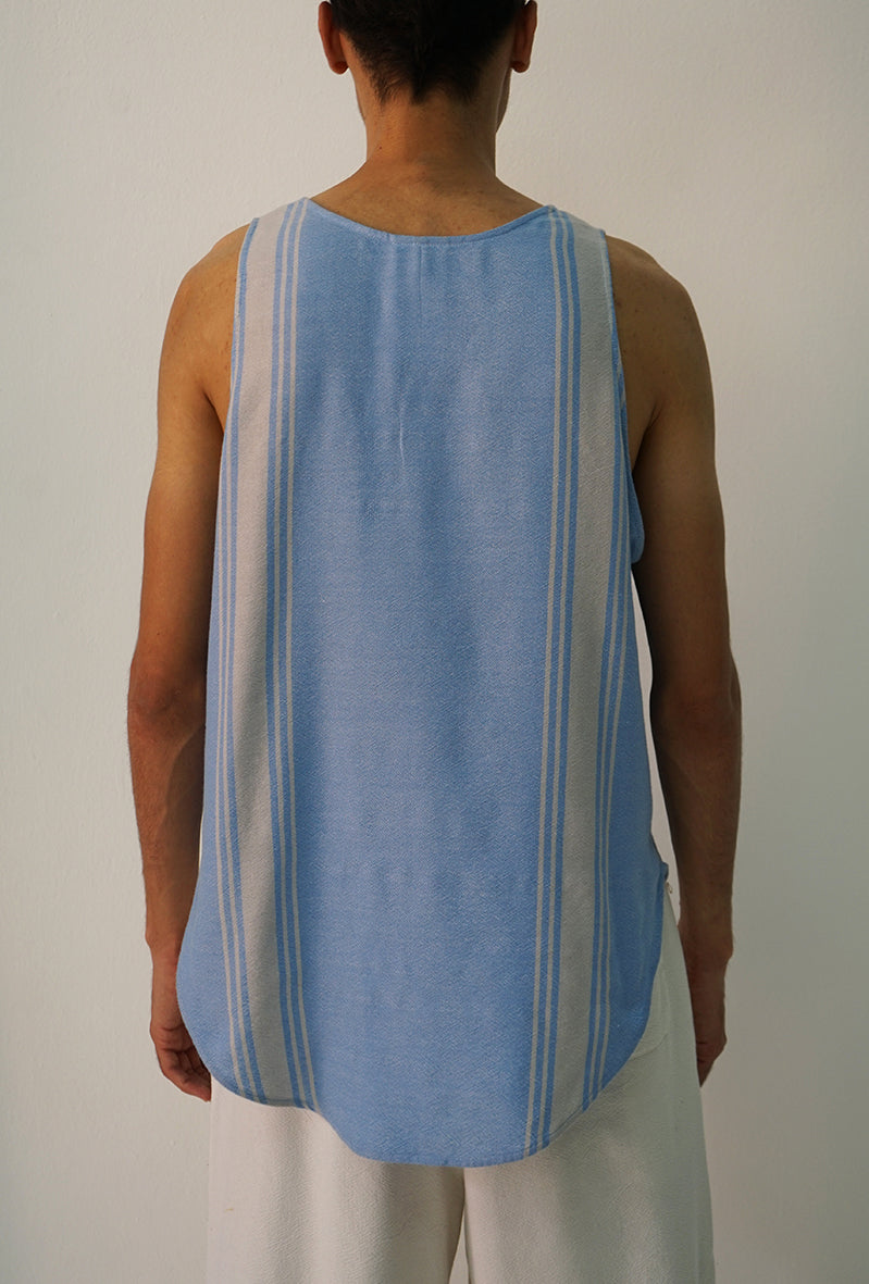 LIGHT BLUE WITH LIGHT GREY STRIPES TANK TOP
