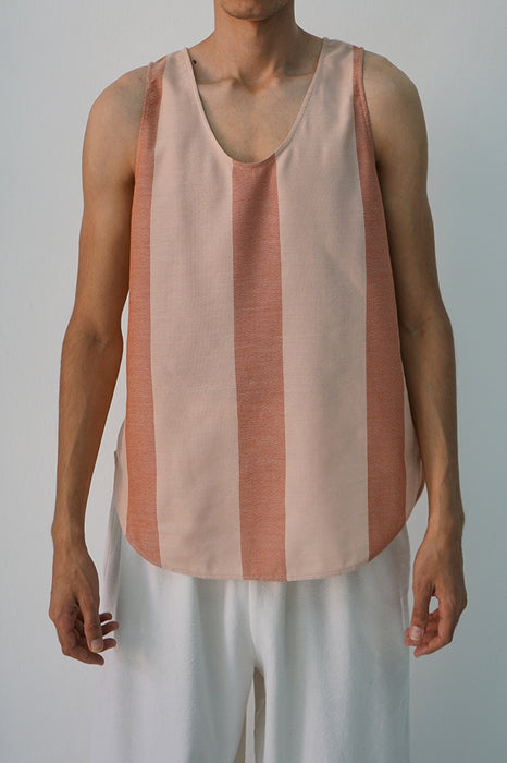 BLUSH AND BRICK RACER STRIPE TANK TOP