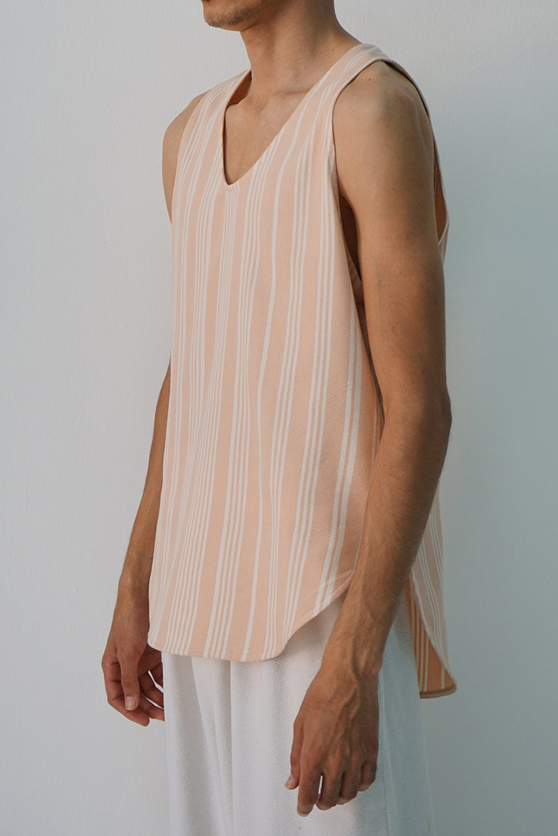 BLUSH AND ECRU BRAHEEM STRIPE TANK TOP