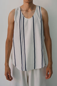 NAVY VARIED STRIPE TANK TOP