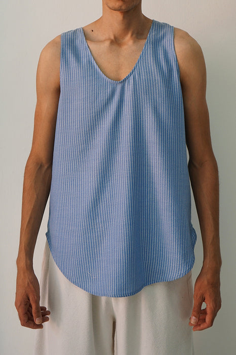 MARINE BLUE REVERSE PIN STRIPE TANK TOP