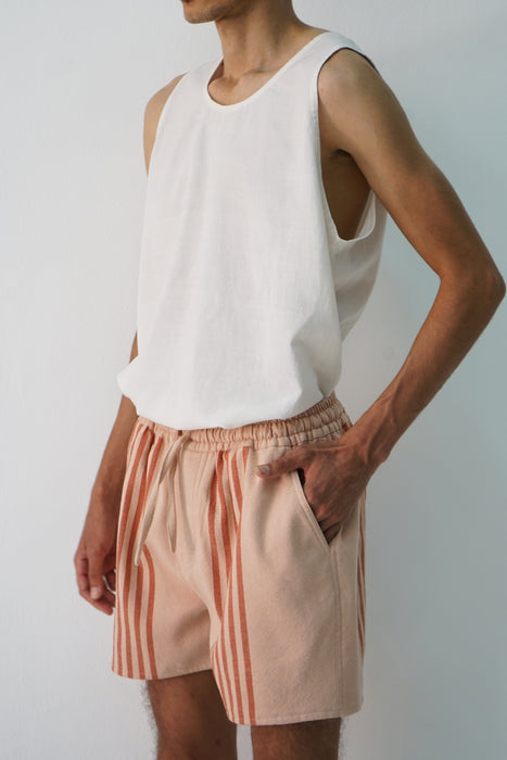 MARINER STRIPE IN BLUSH + BRICK CROPPED SHORT