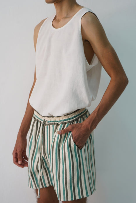 DOUBLE BOLD STRIPE FOREST, AQUA, ECRU CROPPED SHORT