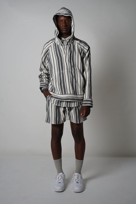 BLACK + ECRU VARIED STRIPE MUFF HOODIE