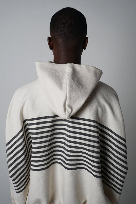 BLACK + ECRU MARINER STRIPE POCKET HOODIE