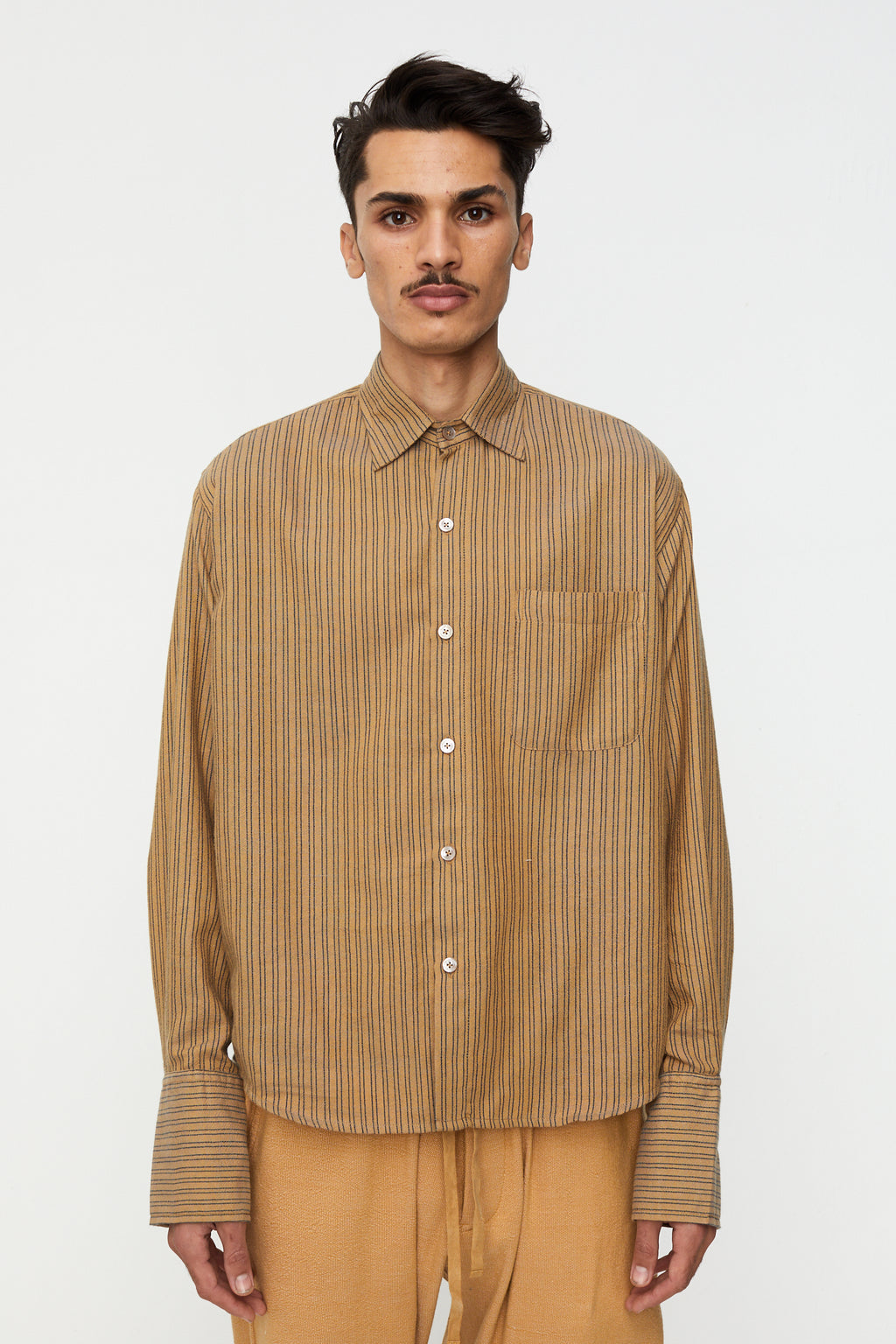 French Cuff Button Down Shirt, Double Pinstripe Camel / Navy
