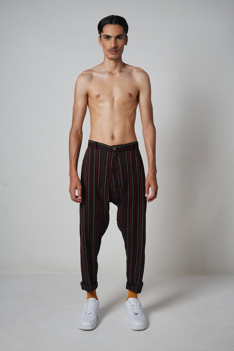 BLACK + MERLOT + FOREST DROP CROTCH PANT