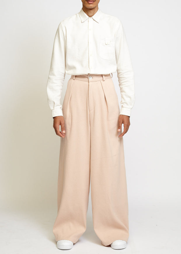 HIGH-WAISTED WIDE LEG PLEATED TROUSER