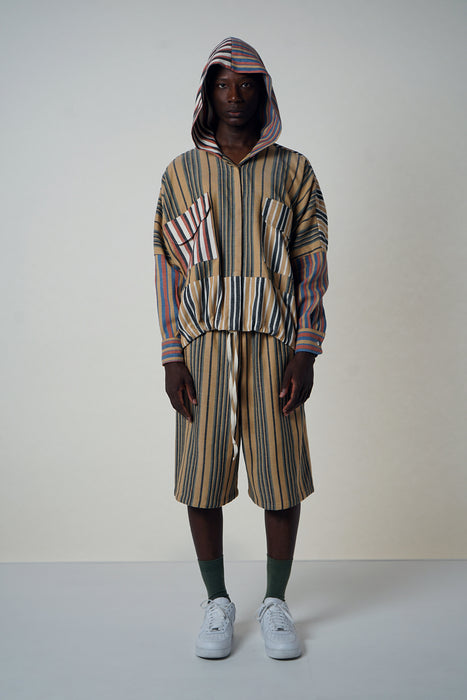 MULTI-STRIPE PANEL POCKET HOODIE