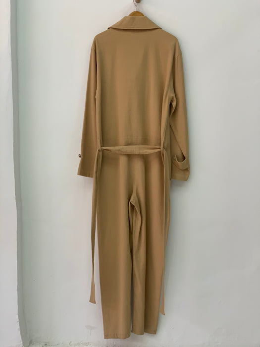 CAMEL SOLID TRENCH JUMPSUIT