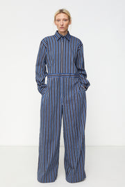 Long Sleeve Wide Leg Button Down Jumpsuit Bold Stripe Navy / Marine Blue / Ecru