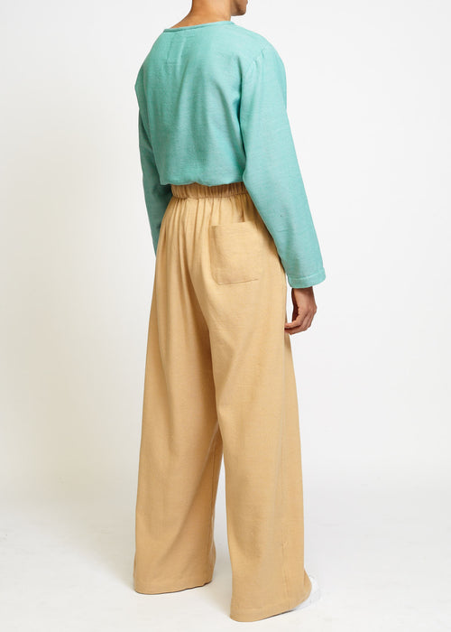 CAMEL HIGH-WAISTED PALAZZO PANTS