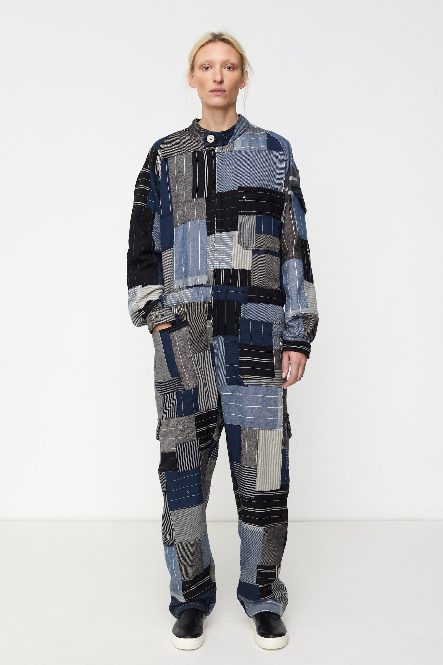 Patchwork Boiler Suit Blue / Gray / Black