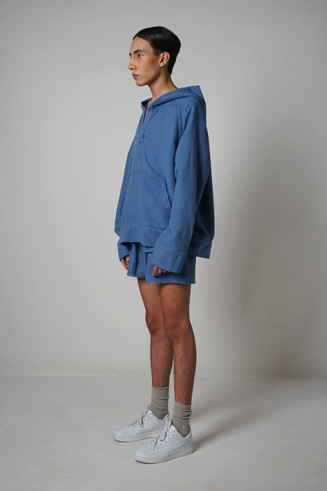 ROYAL BLUE OXFORD STRIPE MUFF HOODIE