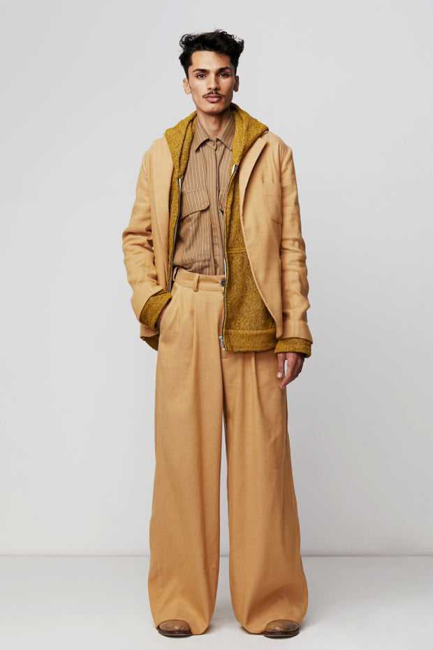 Wide Leg Pleated Trouser in Camel