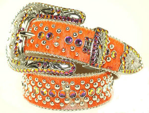 BB Simon Orange Cowhide Leather Crystals Belt - Amore Accessories