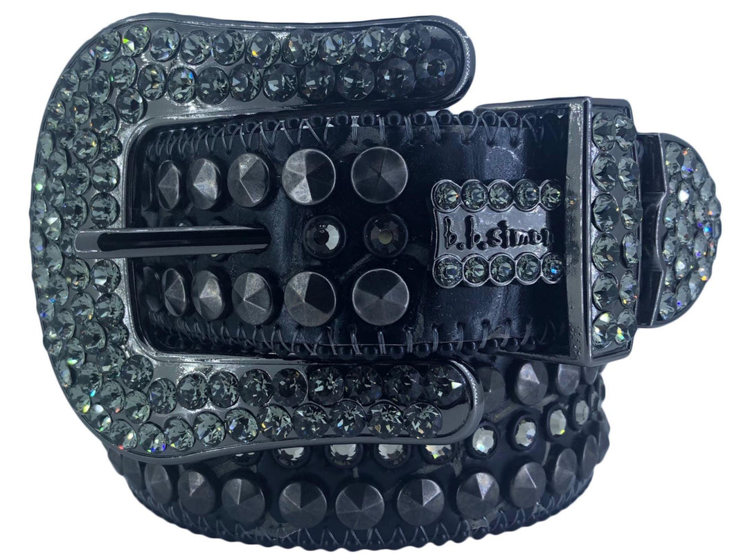 2008 D 73 - BB Simon Black Leather with Crystals Belt - Amore Accessories