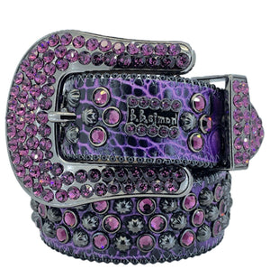2617 A 18 - BB Simon Purple Leather with Crystals Belt