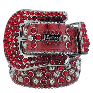 2617 A 46 - BB Simon Red Leather with Crystals Belt