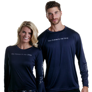 Barefoot In Public Men's Humorous Long Sleeve Performance Shirt - Planet Ocean Edition