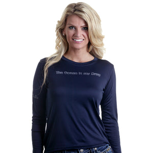 Barefoot In Public Women's Humorous Long Sleeve Performance Shirt - Planet Ocean Edition