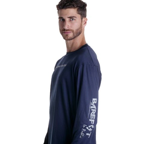 Image of Barefoot In Public Men's Humorous Long Sleeve Performance Shirt - Planet Ocean Edition