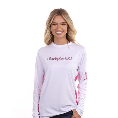 "Barefoot In Public Women's ""Bite On These"" Long Sleeve Performance Shirt - Planet Ocean Edition"