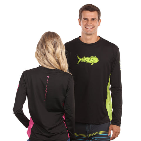 Barefoot In Public Men's Mahi Mahi Logo Long Sleeve Performance Shirt - Planet Ocean Edition