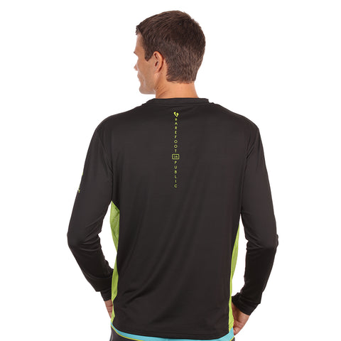 Image of Barefoot In Public Men's Mahi Mahi Logo Long Sleeve Performance Shirt - Planet Ocean Edition