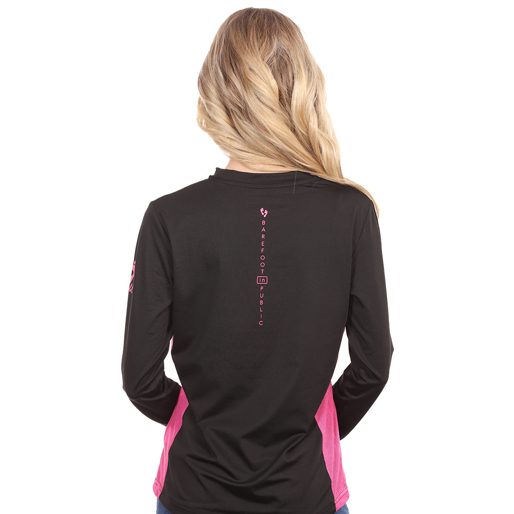 Barefoot In Public Women's Mahi Mahi Logo Long Sleeve Performance Shirt - Planet Ocean Edition