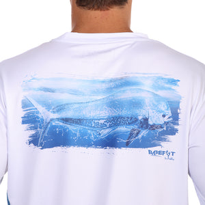 Barefoot In Public Men's Mahi Mahi Wave Long Sleeve Performance Graphic T Shirt - Planet Ocean Edition
