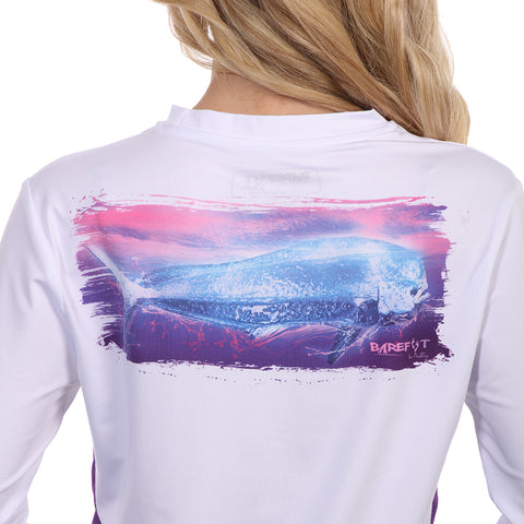 Image of Barefoot In Public Women's Mahi Mahi Wave Long Sleeve Performance Shirt - Planet Ocean Edition