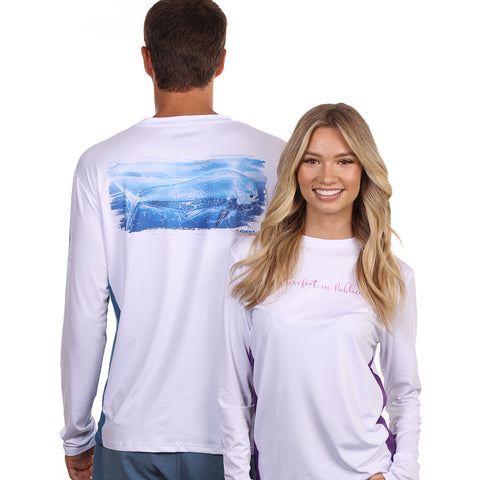 Barefoot In Public Men's Mahi Mahi Wave Long Sleeve Performance T Shirt - Planet Ocean Edition