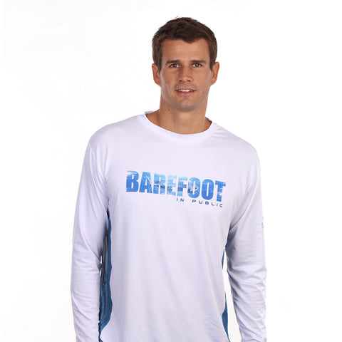 Image of Barefoot In Public Men's Mahi Mahi Wave Long Sleeve Performance T Shirt - Planet Ocean Edition