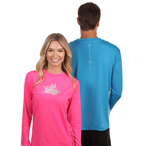 Image of Barefoot In Public Women's Hogfish Logo Long Sleeve Performance Shirt - Planet Ocean Edition