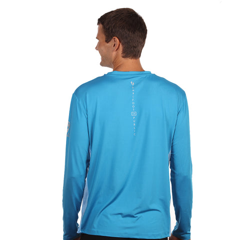 Image of Barefoot In Public Men's Hogfish Logo Long Sleeve Performance Shirt - Planet Ocean Edition
