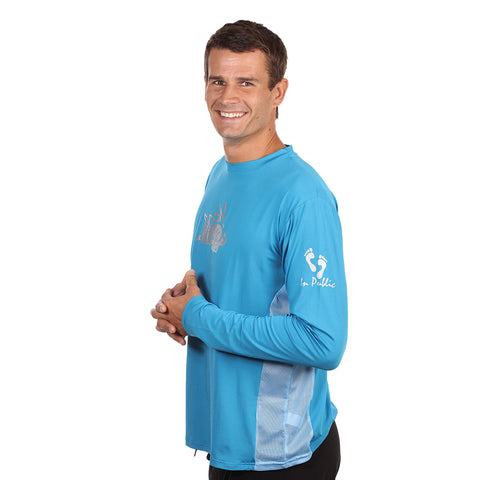Barefoot In Public Men's Hogfish Logo Long Sleeve Performance Shirt - Planet Ocean Edition