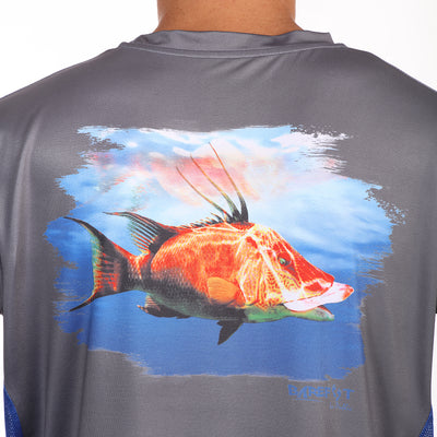 Barefoot In Public Men's Hogfish Long Sleeve Performance Shirt - Planet Ocean Edition